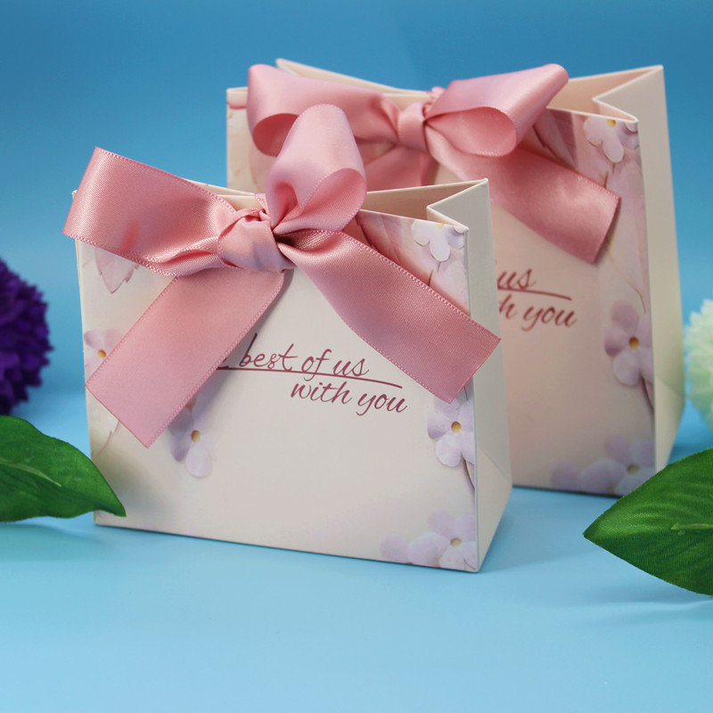 New Green Pink Gift Bags Wedding Favors and Gifts Box Party Paper Candy Box For Wedding Decoration Baby Shower Supplies (2) -