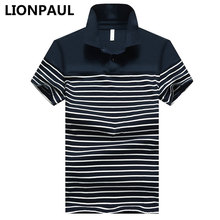 LIONPAUL Brand Summer Polo Shirts Short Sleeve Men Polo Shirts Striped Business Slim Fit Cotton Performance Deck Polos