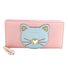 HOT 2017 New Fashion PU Leather Women Wallet Cute Cat Brand Lady Wallets Mobile Bags Handbag Female Purse Clutch Color Wholesale(China)