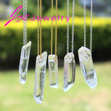 DIY Quartz Crystal Pendant Necklaces Natural Stone Pendant  Silver Plated Chain for Women Fashion Jewelry Wholesale