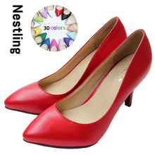 New 2017 Women's High Heels Women Pumps Sexy Bride Party Thin Heel Pointed Toe Sheepskin High Heel Shoes Plue Size 34-41 D30-579