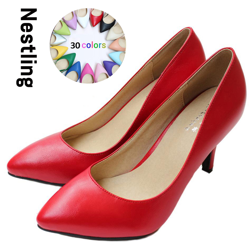 New 2017 Womens High Heels Women Pumps Sexy Bride Party Thin Heel Pointed Toe Sheepskin High Heel Shoes Plue Size 34-41 D30-579<br>
