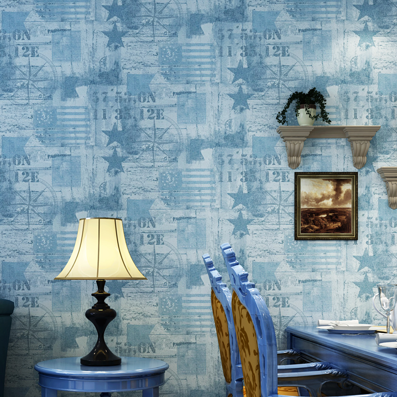 Beige Grey Blue Maple Leaf Mediterranean Non-woven Wallpaper Home Decor Living Room Bedroom TV Background Decoration Wallpaper<br>