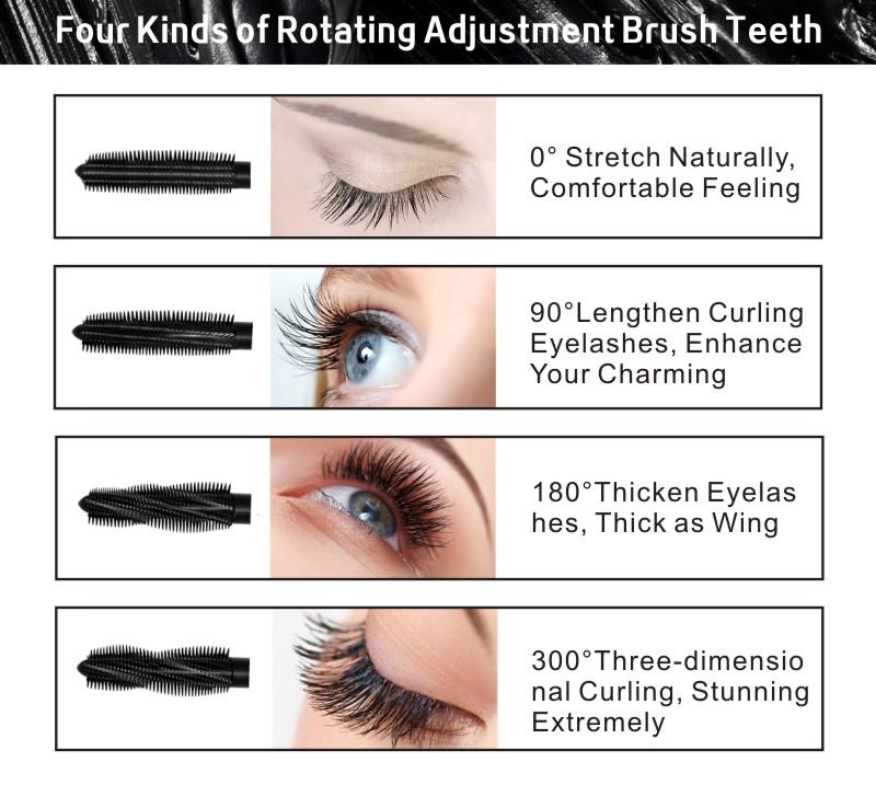 HENLICS Multi-functional 3D Mascara Waterproof Liquid Fiber Long Black Eyelashes Makeup Curling Mascara Lash Extension Mascara (6)