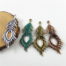 Julie Wang 4pcs Vintage Style Bronze Tone Alloy Charms Cute Peacock Feather Pendant Decor Jewelry Earring Accessory 67*28*3mm