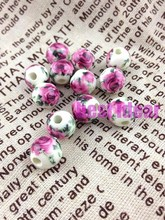 Free Shipping 100pcs/lot  Round 10-14mm Dark Pink Rose flower  Smooth Bead Ceramic Porcelain Loose Beads Fit Charms Jewelry
