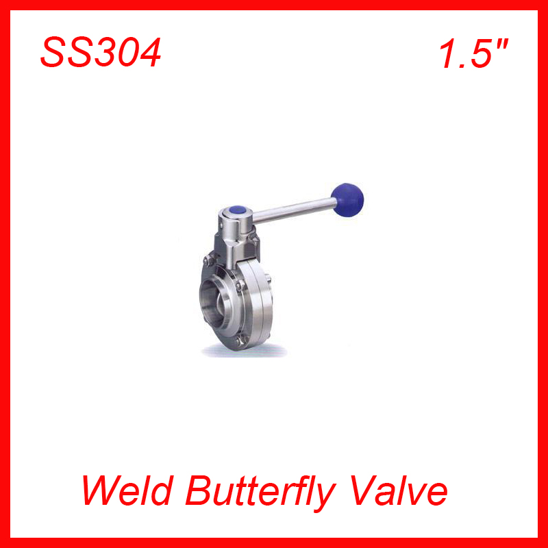 Hot  1.5 SS304 Sanitary Weld stainless steel TC manual butterfly valve  w Handle 20pcs/lot NEW<br><br>Aliexpress