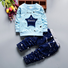 Autumn and winter children's clothing five-pointed star fashion cartoon sports suit boys girl clothes for 1-4 year old children(China)