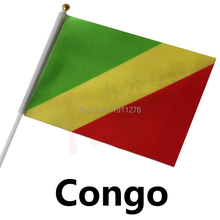 Fashion Congo Flag 14x21cm Polyester Hand Waving National Flag Congo  with Plastic Flagpoles Home Decor.10 pcs /lot