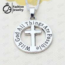 Wholesale With god all things are possible Matthew 19:26 necklace Religious Catechism Gift CrossNecklace #LN1234(China)