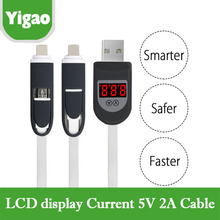 2 in 1 Sync USB Charger Cable LCD Digital Indicator Current Voltage Protector for iPhone Android Phone phone charger USB