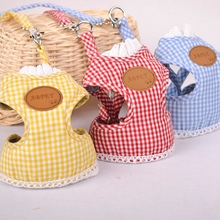 Plaid Pet Dog Harness For Puppies Small Animals Red Yellow Lead Leashes Yorkshire Dachshund Cat Vest Apparel Accessories Goods