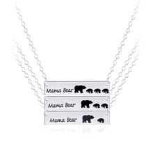 Inspired Silver Plated Bar Necklace Mama Bear Necklace Gifts for Mom Wife Mother's Day Gift Birthday Remembrance Option