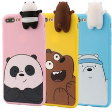overmal Popular 3D Cartoon Animals Cute We Bare Bears Soft Silicone Case Cover Skin For IPhone 8 Plus 5.5 Inch Protect phone