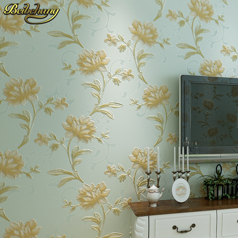 beibehang classic Pink yellow large flowers rose 3d wallpaper roll wall paper for wall safa tv background living room home decor<br>