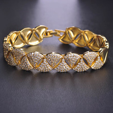 Blucome Upscale Zircon Copper Bracelets Gold Color Soft Copper Pulsera Feminina Cuff Bileklik Engagement Wrist Hand Accessories