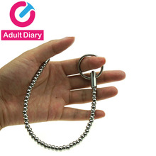 Adult Diary Electro Sex Stainless Steel Beads Sounding Urethral Catheter Penis Plug Urethra Stimulate Dilator Chastity Sex Toys(China)