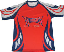 Red Navy Stripes Regular Fit Rugby Jerseys with O neck
