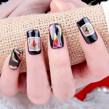 12Pc/Set Pro Newest Hollow Broken Glass Finger DIY Nail Art Stencil Decoration Decal Stickers