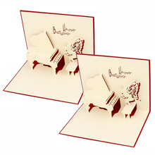 Red Music Piano 3D Pop Up Cards Paper Carving Festival Business Greeting Card 3D Paper Card Fantastic Festival Gifts JK0150