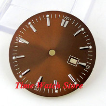 34.8mm brown sterial dial super luminous silver marks Watch Dial for ETA 2836 Mingzhu 2813 4813 Movement D40