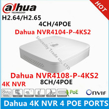 Dahua 4K NVR NVR4104-P-4KS2 4CH with 4 POE NVR4108-P-4KS2 8ch with 4PoE ports replace NVR4104-P NVR4108-P Network Video Recorder(China)