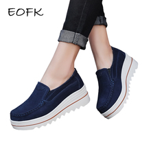 EOFK 새 봄 가 모카신 Women's 츠 Suede Genuine leather Shoes Lady 로퍼 Slip 에 플랫폼 Woman 모카신(China)