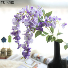 YO CHO Fake Silk Vine Artificial Flowers with Green Leaves For Home Wedding Decoration Hanging Garland Decor Chinese wistaria(China)