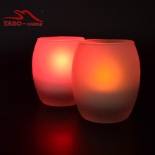 Color Changing Votive Round Tea Light Flameless LED Candle Frosted Glass Fireless LED Tealight Candle with Glass Holder(China)