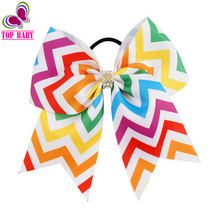"2Pcs/lot 7"" Trency Colorful Rainbow Chevron Cheer Bow With Black Ties Elastic Hair Accessories For Girls Hairbow Gift"