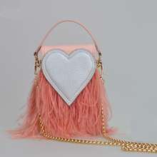 New Fashion Shoulder bag women heart Messenger bag Ostrich feathers Handbag Chain Crossbody bag High Quality Hasp Bags H734