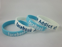 Facebook wristband, Silicon bracelet, glow in the dark colour, promotion gift, 2colours, 100pcs/lot, free shipping(China)