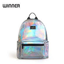 Brand Fashion Holographic Backpack Women Backbag Ladies Travel Bag PU Leather Small Backpack Women Silver Bagpack