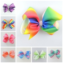100pcs 11cm center Jeweled Pastel flora ombre ribbon hair bows Alligator clips Rainbow Dance Pageant  Accessories HD3477