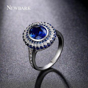 NEWBARK Marque De Luxe Bleu Anges Anneau CZ Diamant Bijoux Or Blanc Plaqué Cuivre Cubique Zircone Anneaux Pour Femmes Vintage Anel
