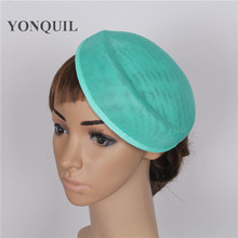 15colors 5psc/lot 16*19CM women Solid oval emerald green Airline stewardess cap imitation Sinamay Base Fascinator Hat DIY hat