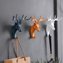 American creative deer head animal decorative hook coat hook retro clothes hanging three-dimensional porch key point bar(China)