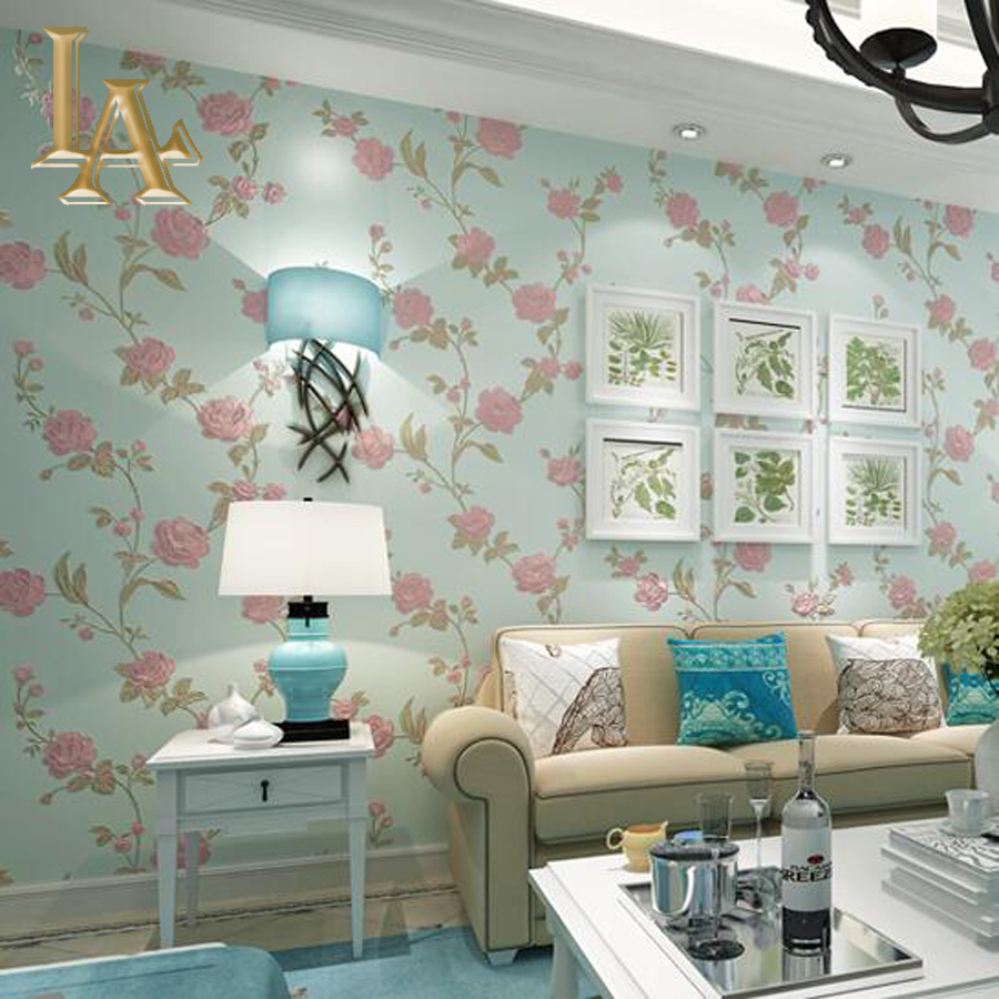 Pastoral 3D Stereoscopic Embossed Beige Green Pink Rose Wallpaper For Walls Bedroom Living room TV Background Floral Wall paper<br><br>Aliexpress