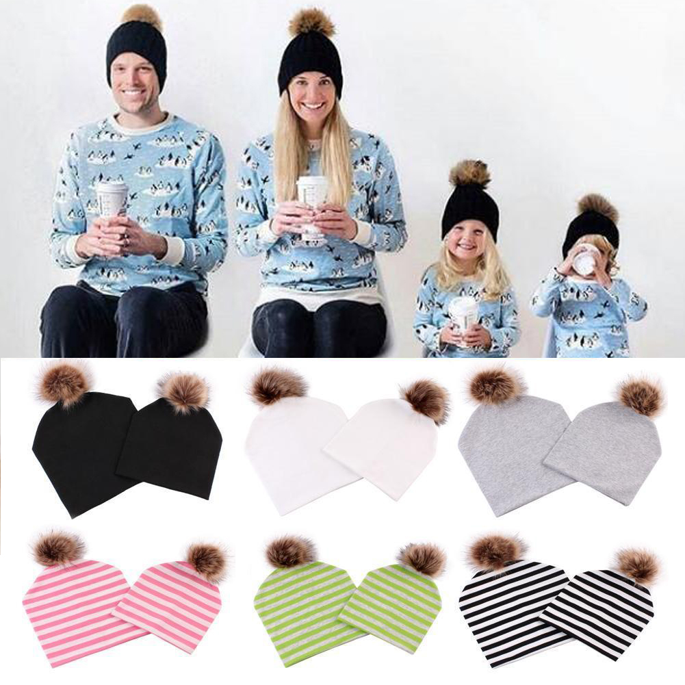 2018 New Mom Baby Hats Kids Fall Winter Warm Fox Fur Beanie Caps Cotton Knitted Parent-Child Baby Hats
