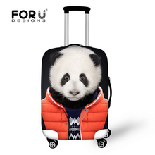Fashion Panda Print Luggage Protective Cover Animal Tiger Head Luggage Cover For 18-30 inch Suitcases Zoo Luggage Case Covers(China)