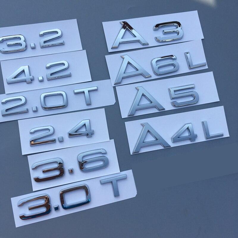 2/x Quattro Chrome Rear emblem badge A1/A3/A4/A5/A6/A8/Q3/Q5/Q7/TT S3/S4/S5/RS5/RS6