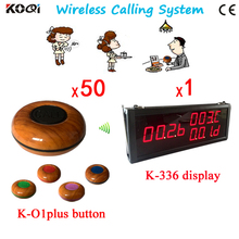 Coffee Shop Waiter Paging System of 1pcs Big Screen For Counter Waitress and 50pcs Call Buzzer For Customers 100% Waterproof