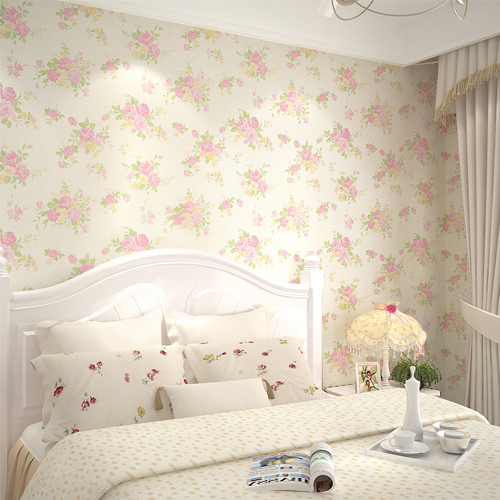Rose Floral Wall paper 3D Non-woven Rustic Flower Wallpaper Rolo Wall for Kids Room Home Decor Tapete Papel De Parede Pink<br>