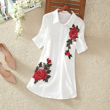 ASTFSC 2017 Summer T-shirt Women Cotton Linen Floral T Shirt  Embroidered Lotus Flower Tshirt Folk Style Roupas Coreanas Tops