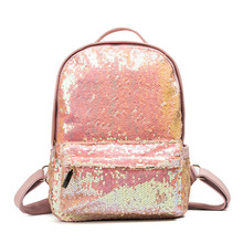 2017 New Arrival Women All-match Bag PU Leather Sequins Backpack Girls Small Travel Princess Bling Backpacks ZD215