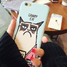 Cute Grumpy Cat Bear Case For iPhone 7 6 6S Plus 5s SE Cover Lovely Cartoon Decal PC Hard Phone Back For iPhone 6 7 6S 5S Capa(China)