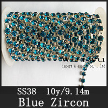 Sewing Accessories 10 Yards 38ss Blue Zircon Silver Base Handmake Strass Rhinestone Chain(China)