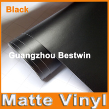 Premium Black Matte Vinyl Wrap with Air Bubble Free Satin Matt Black Foil Car Wrap Film Vehicle Sticker 1.52x0.3m/Roll