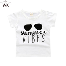 2017 Top kids shirts boys Summer Vibes Kids Tee Graphic Tee Gift Sunglasses baby T-shirts for girls sports short tees Jw-098