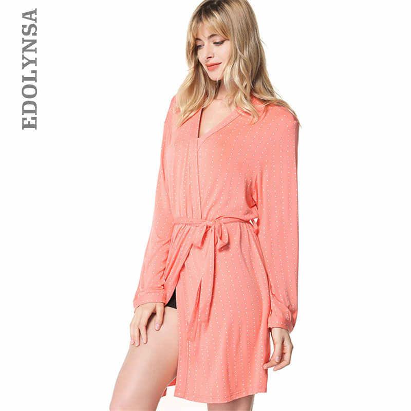 2019 New Hot Sexy Lingerie Spring Sleepwear Women Bathrobe Pink Black  Cotton Kimono Intimate Sleepwear Robe 58c9c804a
